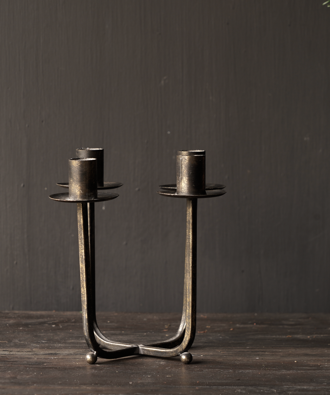 Metalen brons/goud kleurig kaarsen houder /kandelaar-2