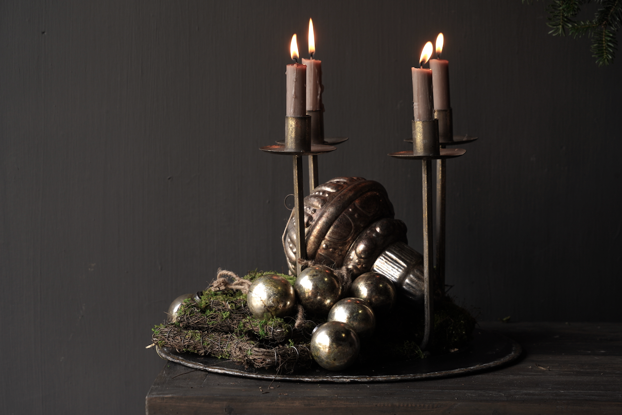 Metal bronze / gold colored candle holder / candlestick-6
