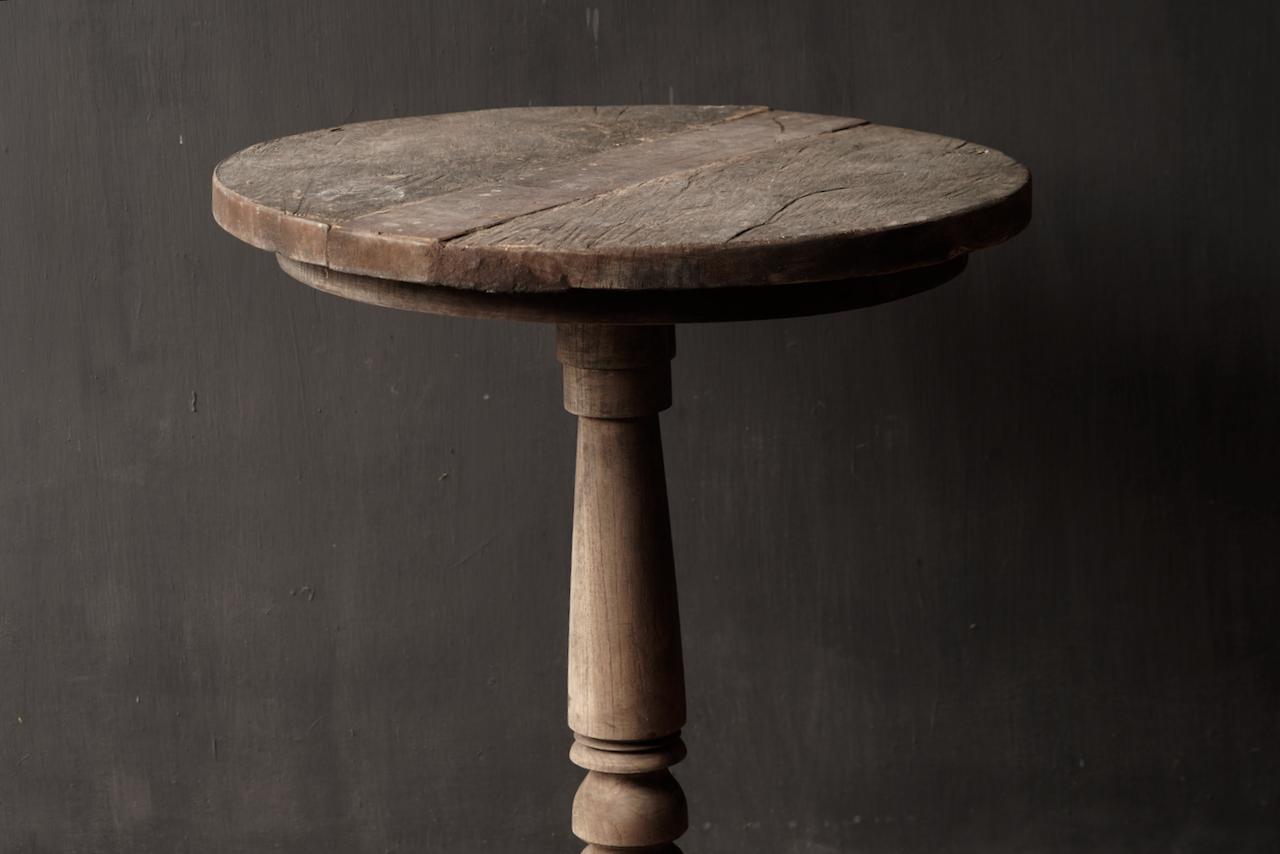 Robuster robuster runder Weintisch aus altem gebrauchtem Holz 60cm-2