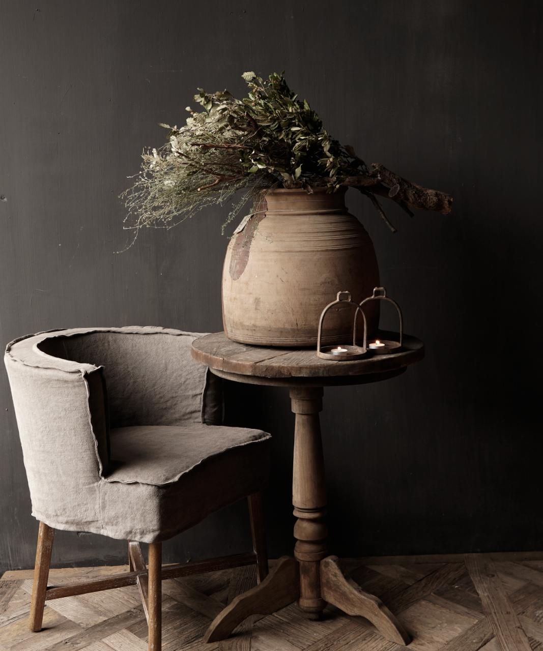 Robuster robuster runder Weintisch aus altem gebrauchtem Holz 60cm-1