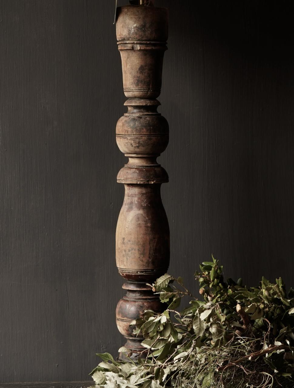 Oude Houten Baluster lamp voet-3