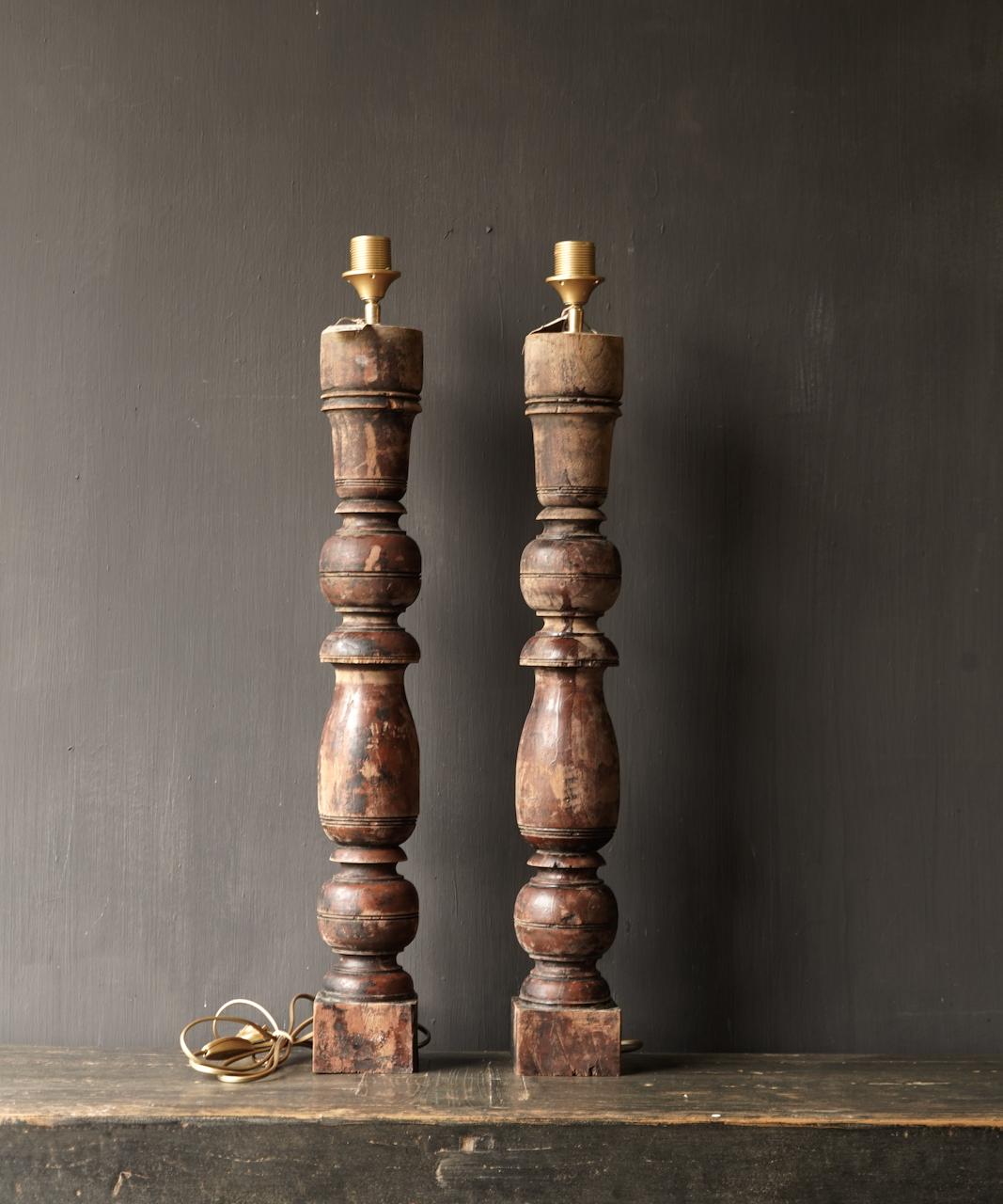 Oude Houten Baluster lamp voet-4