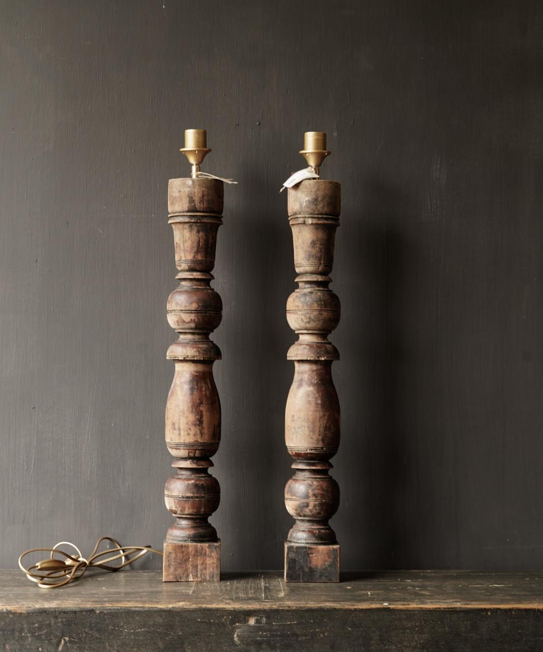 Oude Houten Baluster lamp voet-6