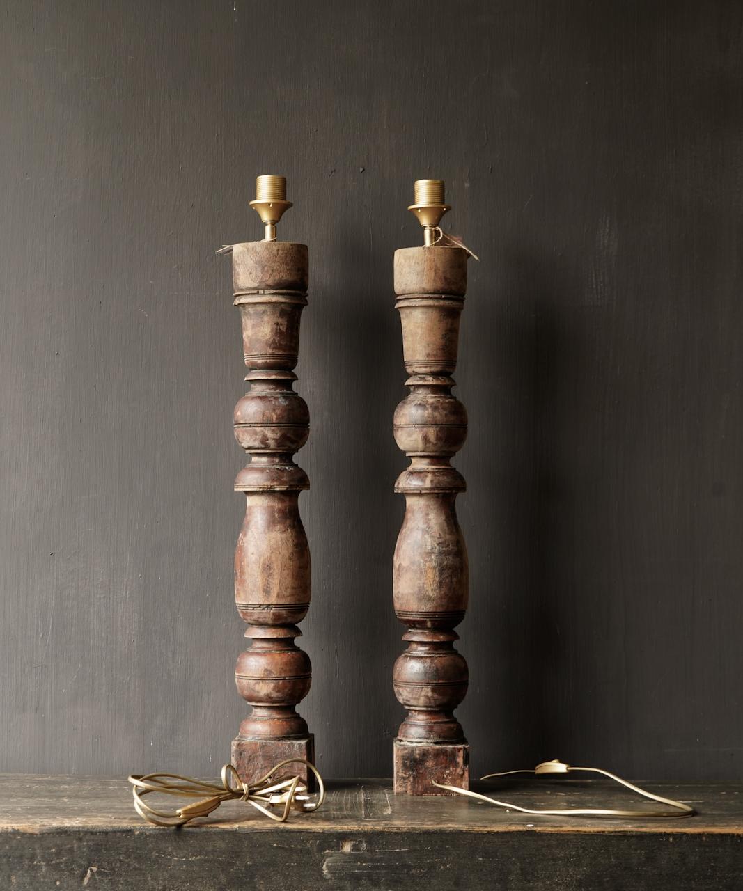 Oude Houten Baluster lamp voet-7