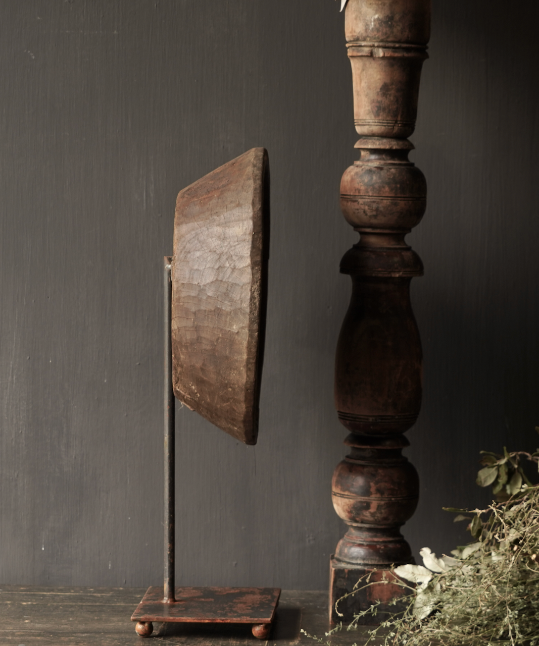 Old wooden bowl on iron base / stand-3