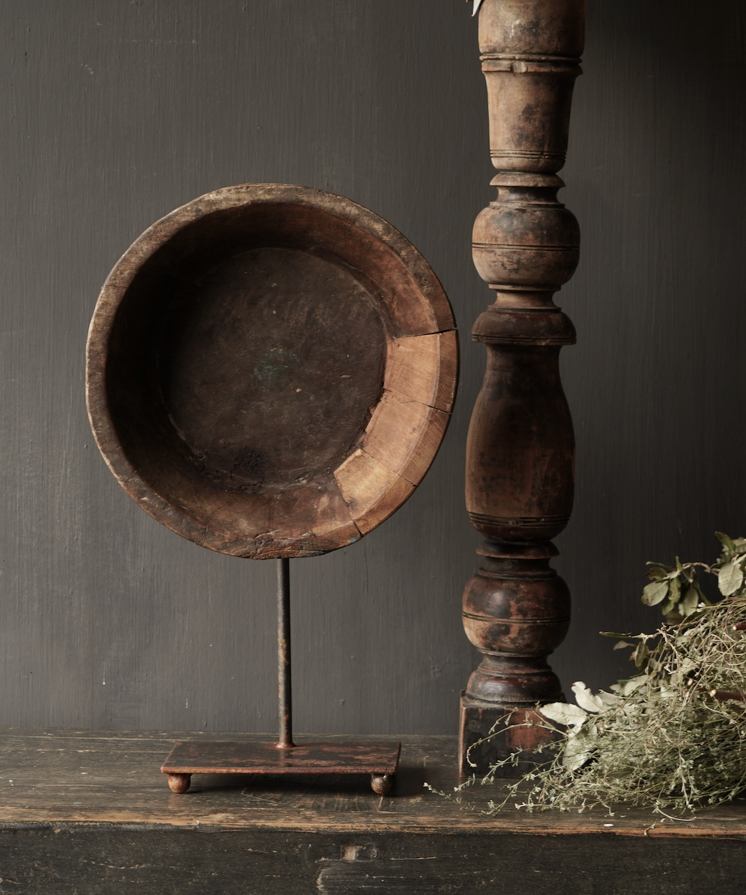 Old wooden bowl on iron base / stand-2