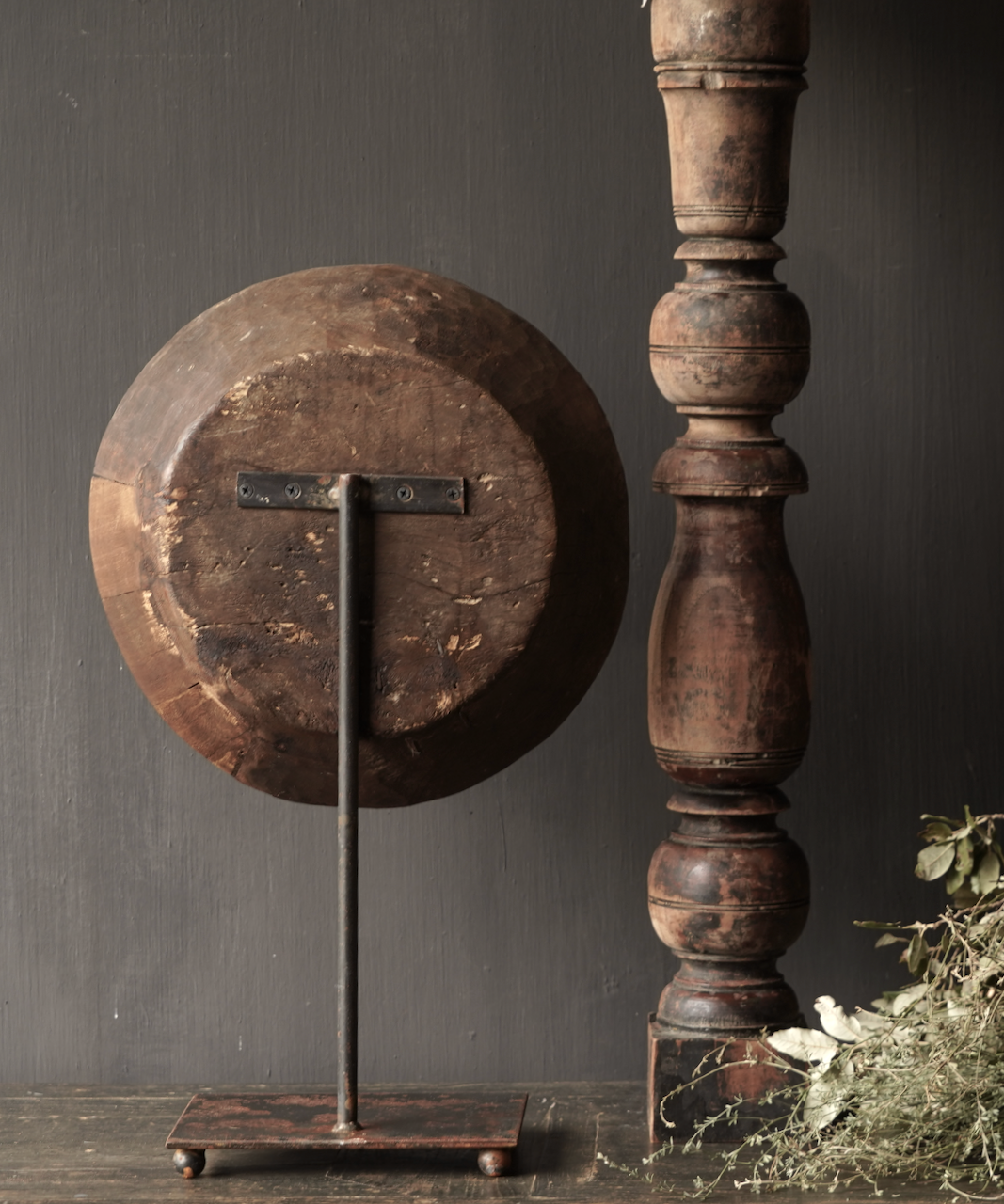 Old wooden bowl on iron base / stand-4
