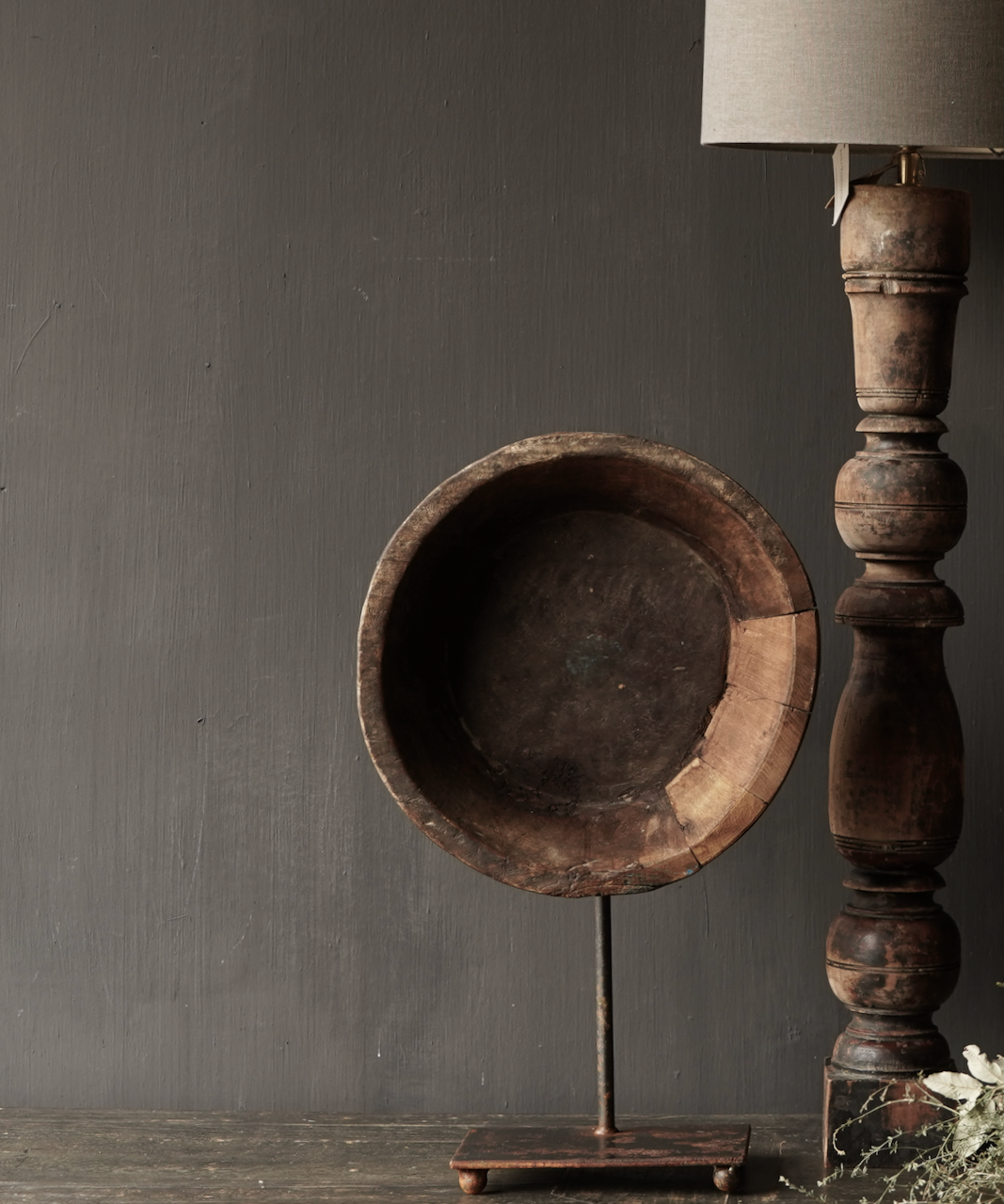 Old wooden bowl on iron base / stand-1