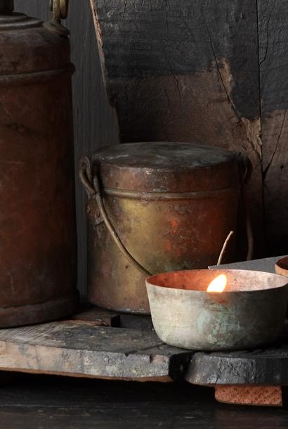 Antiek  India koperen melk/boter  potje met deksel