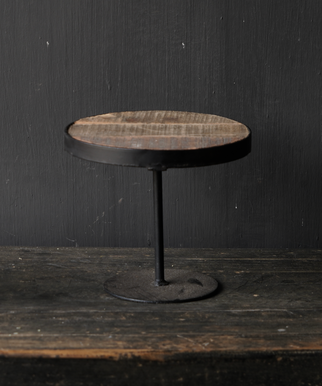 Wooden etagere with iron base-6