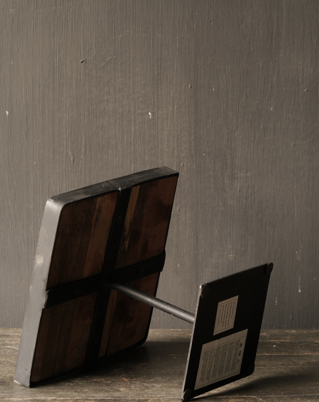 Wooden etagere with iron base-9