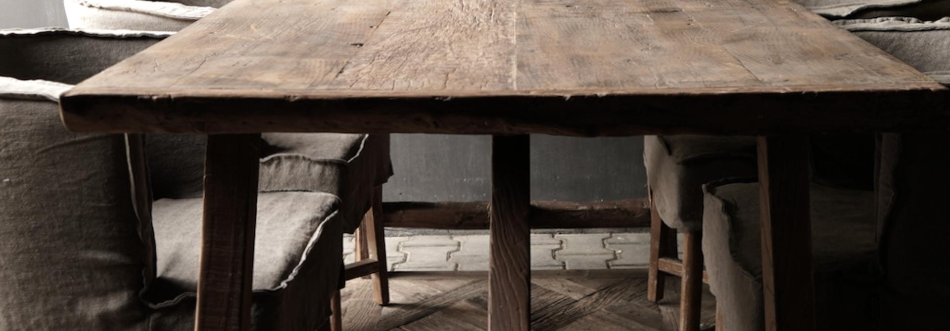 Stoer Eetkamer tafel van gebruikt fruitbomen hout