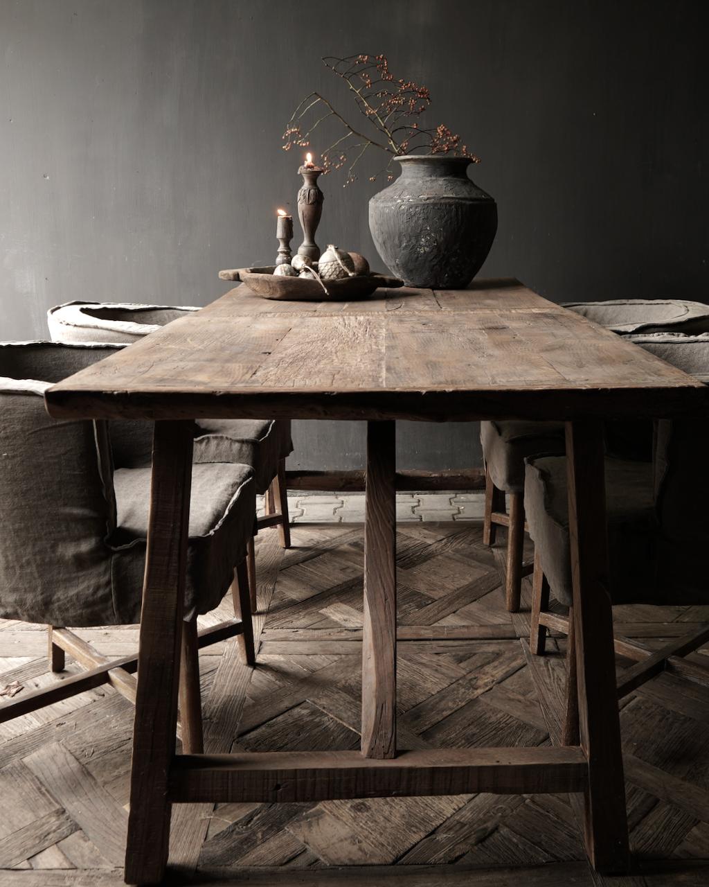 Stoer Eetkamer tafel van gebruikt fruitbomen hout-1