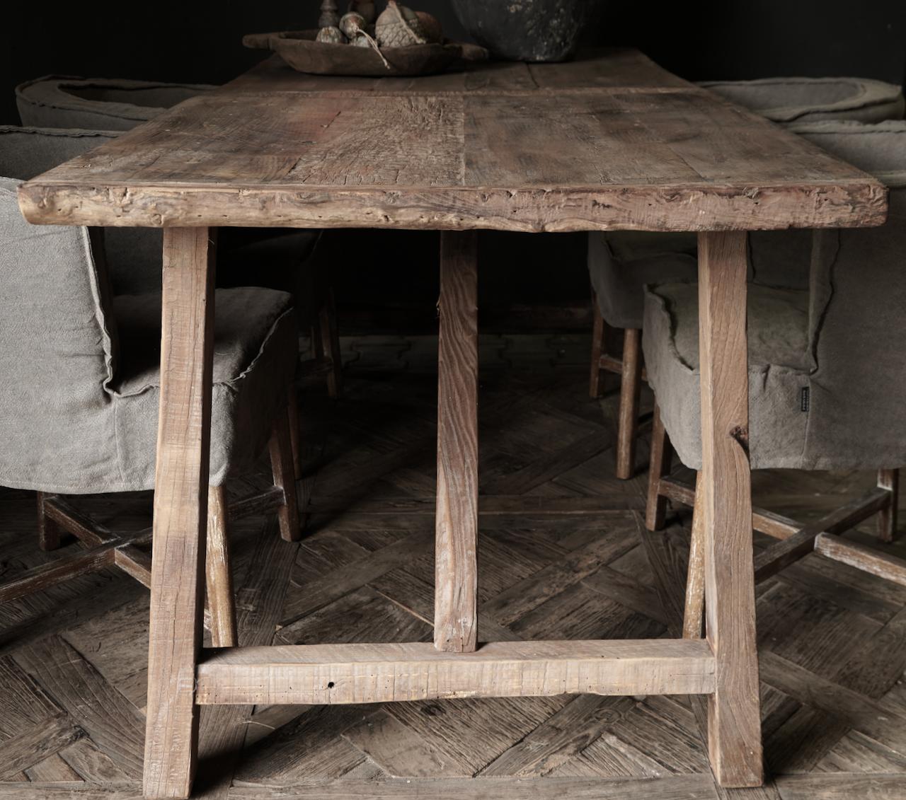 Stoer Eetkamer tafel van gebruikt fruitbomen hout-5