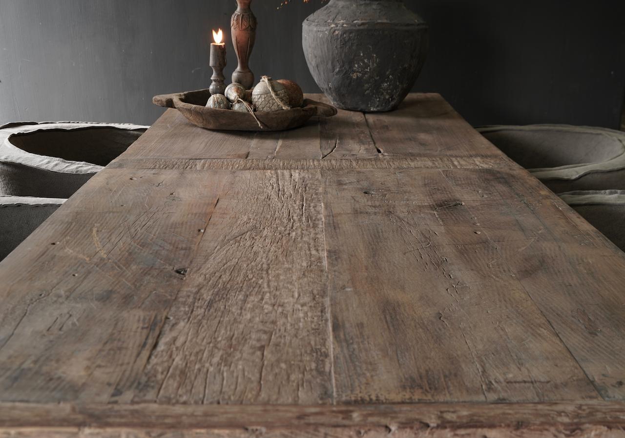 Stoer Eetkamer tafel van gebruikt fruitbomen hout-3
