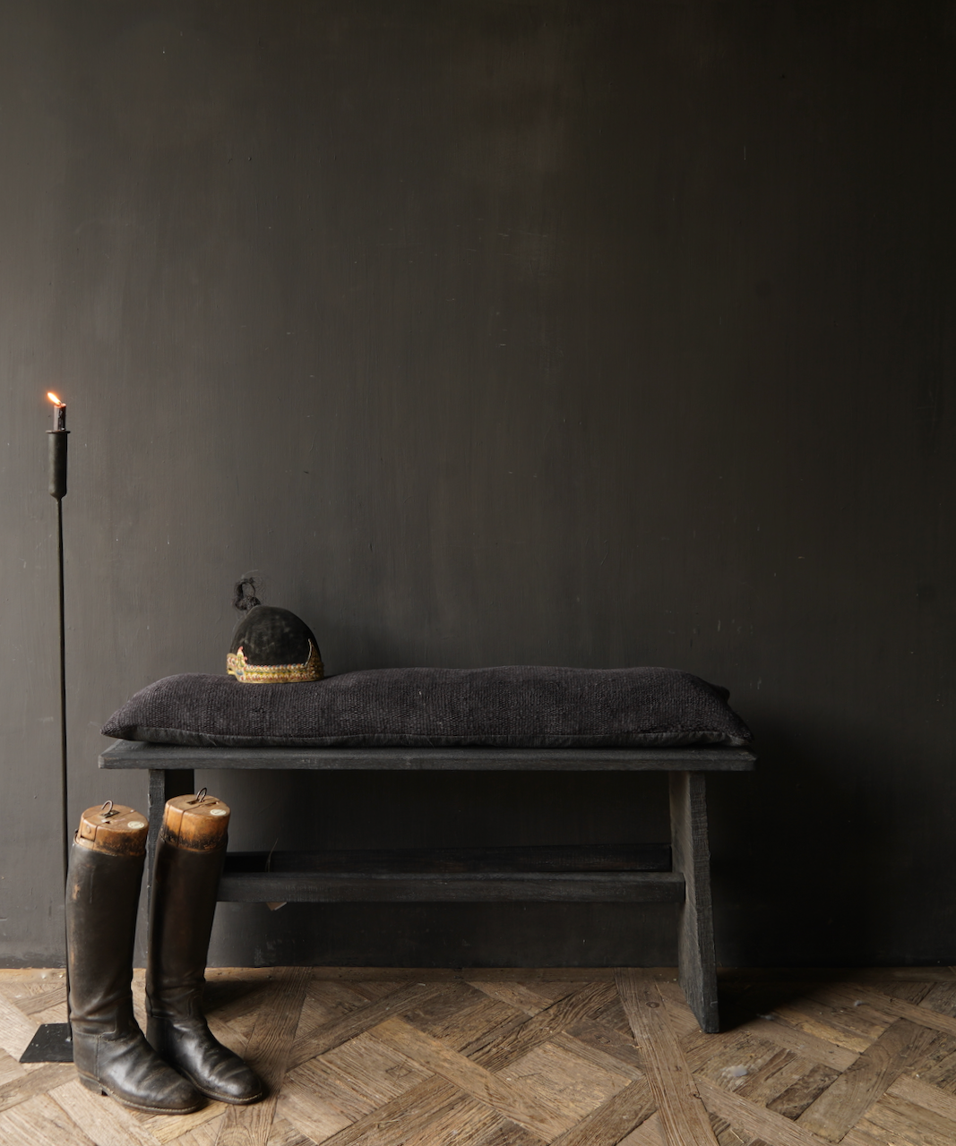 Tough Black old wooden bench-1