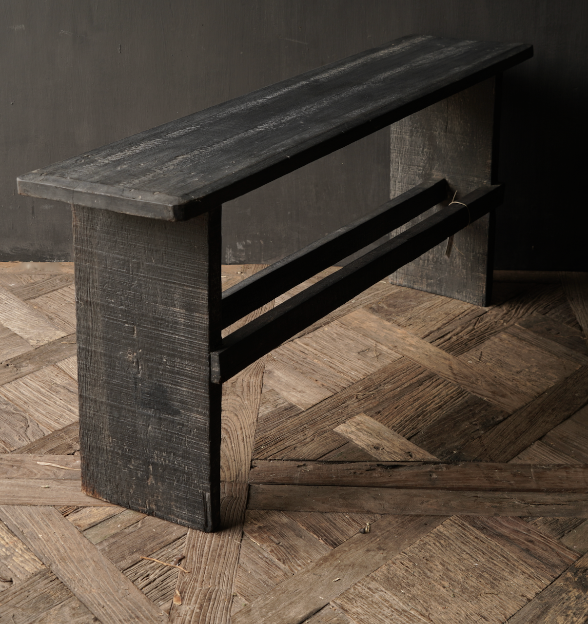 Tough Black old wooden bench-3