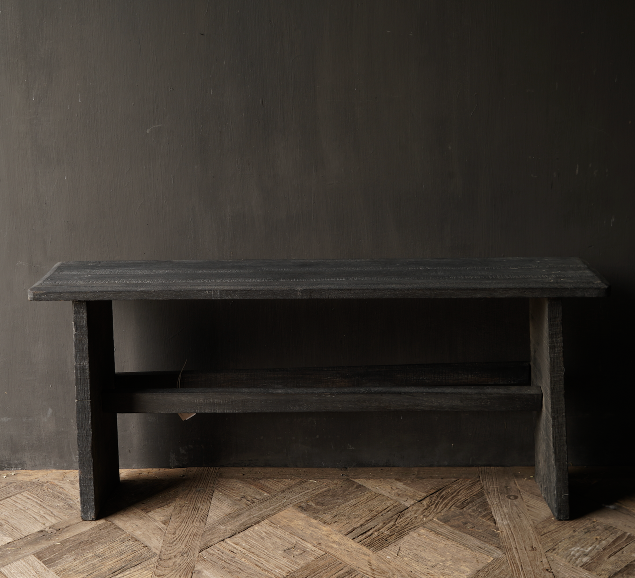 Tough Black old wooden bench-4