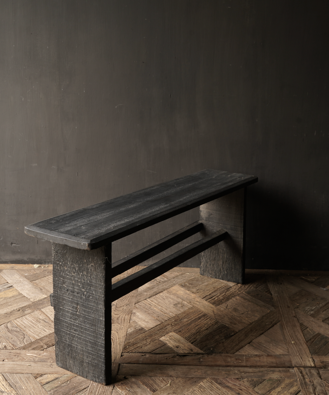 Tough Black old wooden bench-5