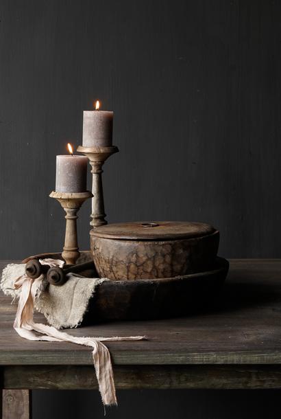 Authentieke oude houten Nepalese  schaal