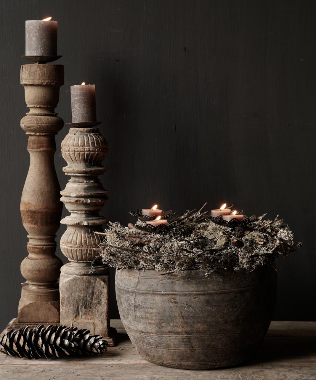 Nepalese oud houten Pot oftewel Vaas-1