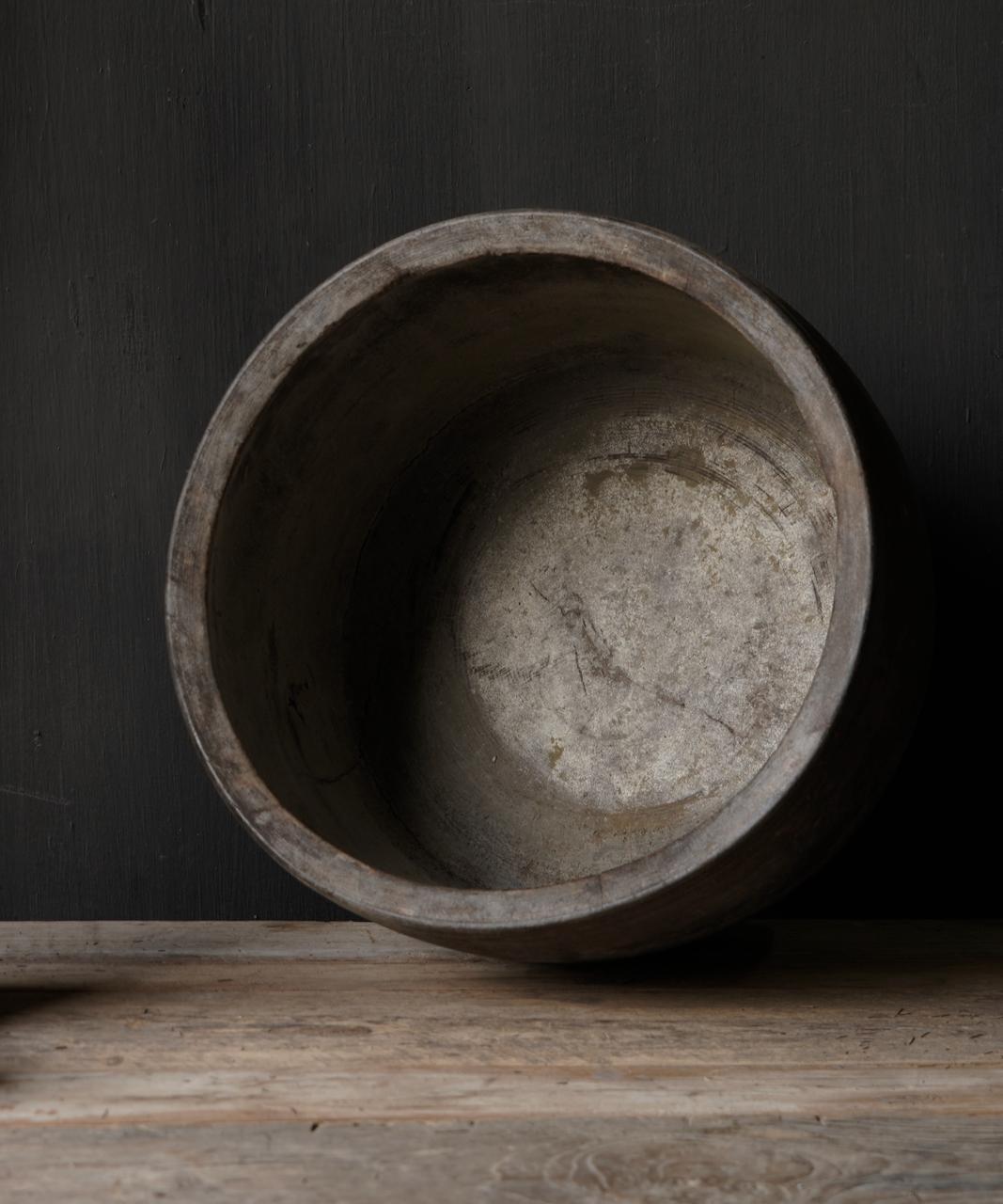 Nepalese oud houten Pot oftewel Vaas-6