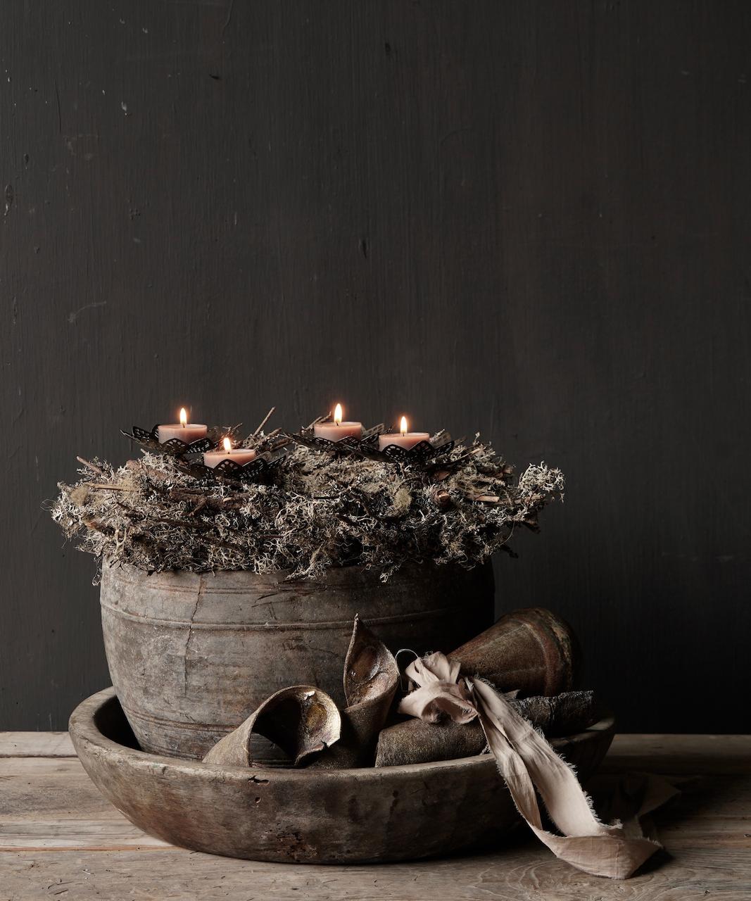 Nepalese oud houten Pot oftewel Vaas-3