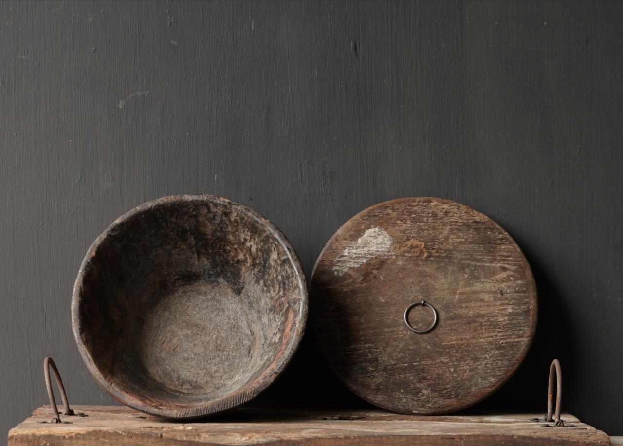 Nepalese oud houten Pot met deksel-4