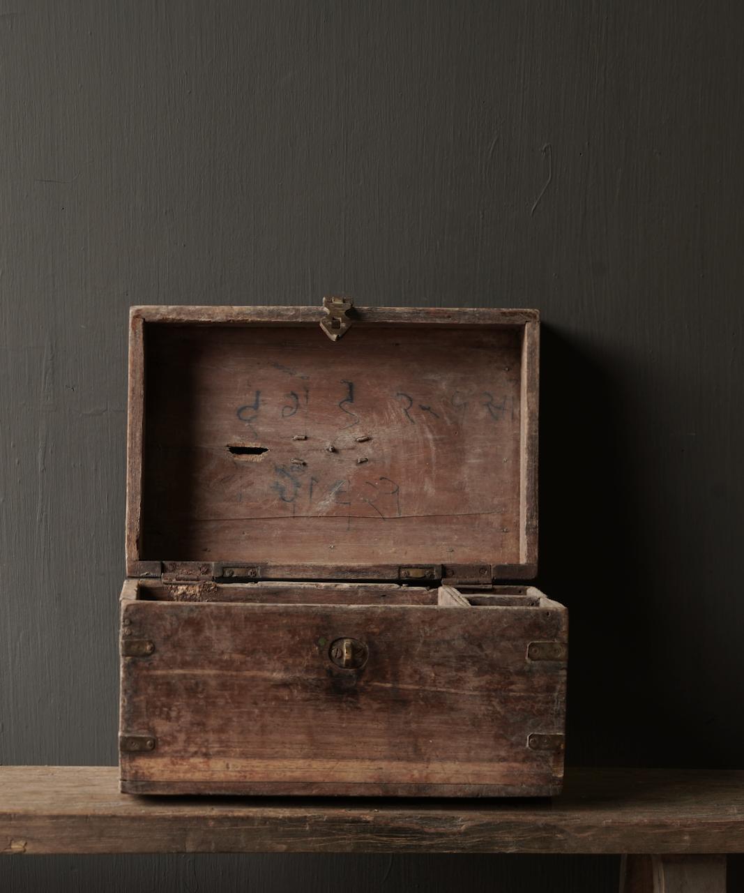 Oude Authentieke houten kistje-3