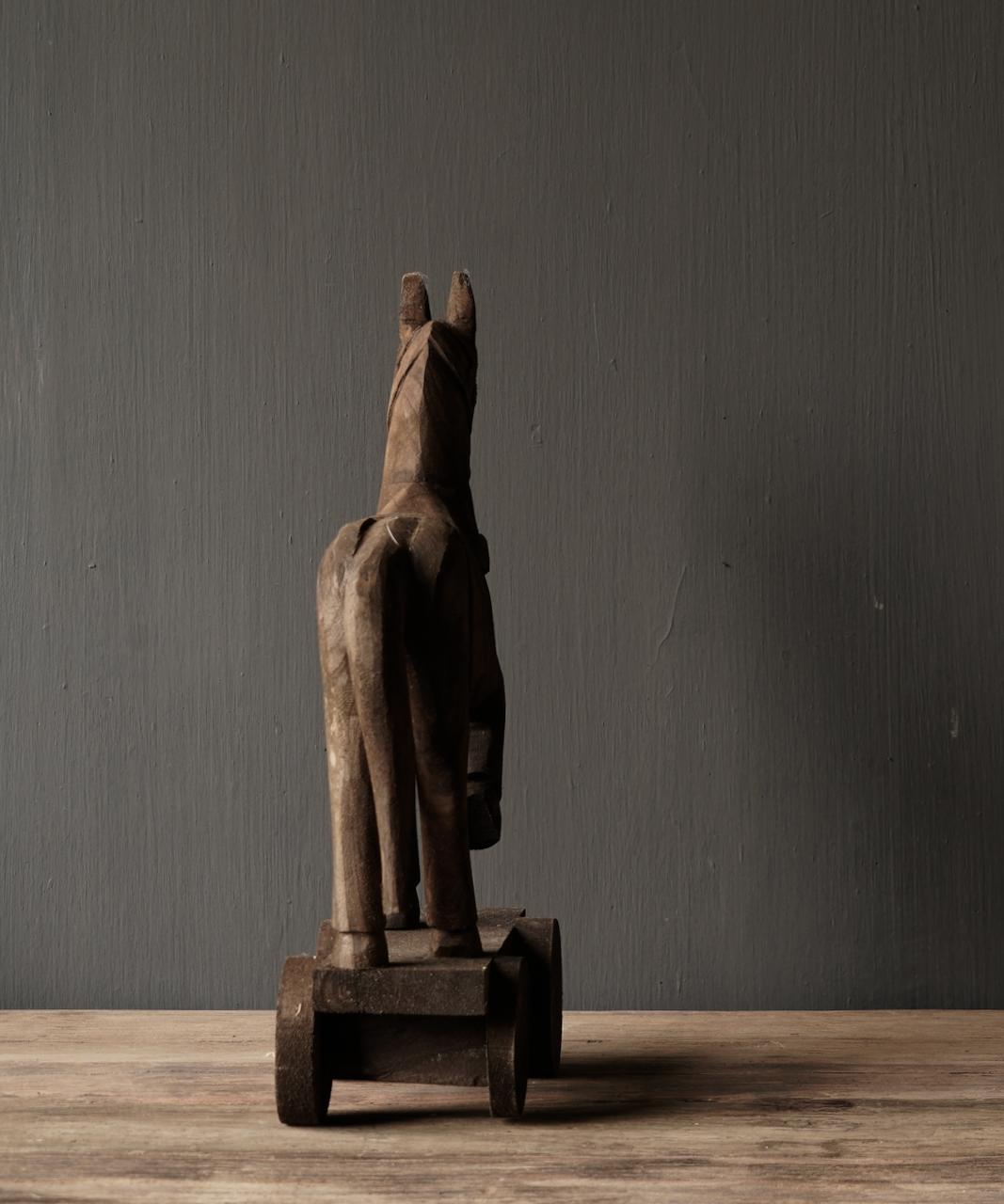 Houten paardje handgemaakt van oud hout-4
