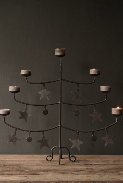 Iron candlestick with stars