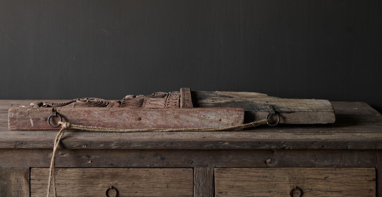 Prachtig groot oud houten ornament-6