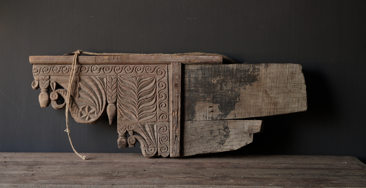 Prachtig groot oud houten ornament-4