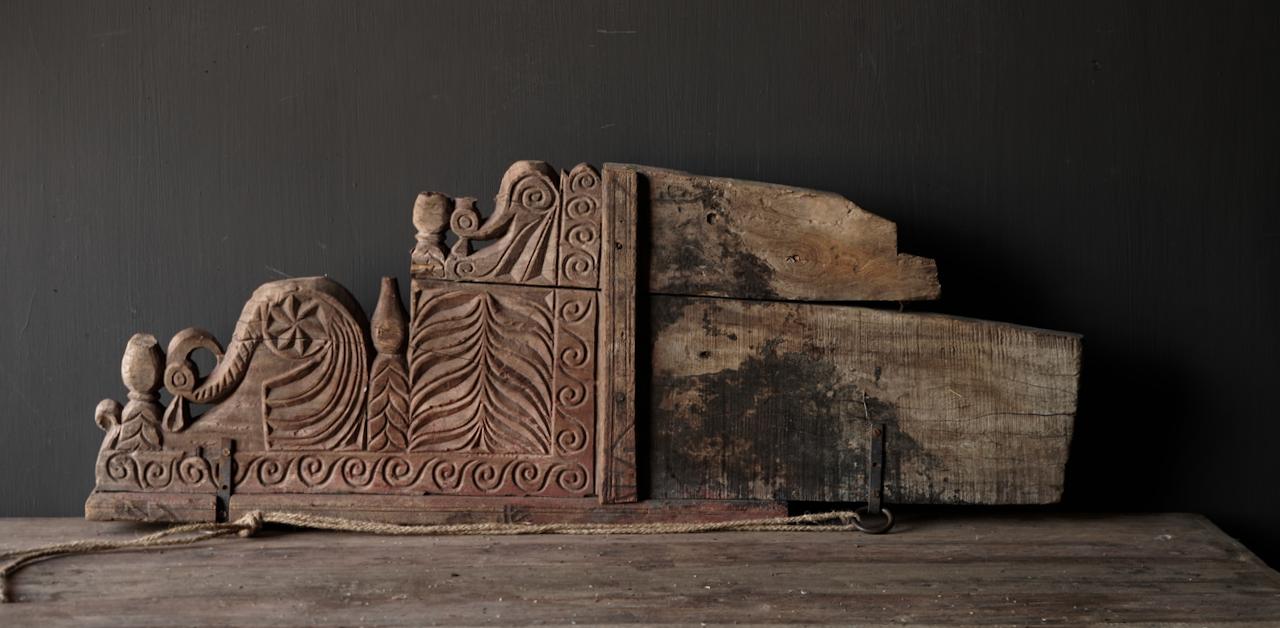 Prachtig groot oud houten ornament-5