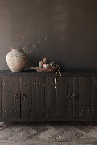 Tv Cabinet / Sideboard of old black / brown robust wood