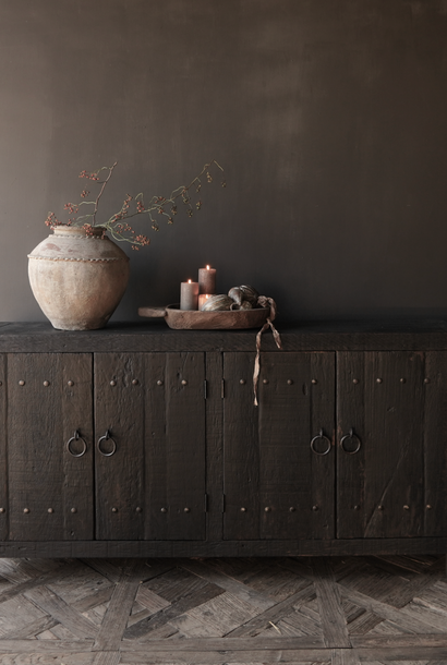 Tv Furniture / Sideboard of old black / brown robust wood