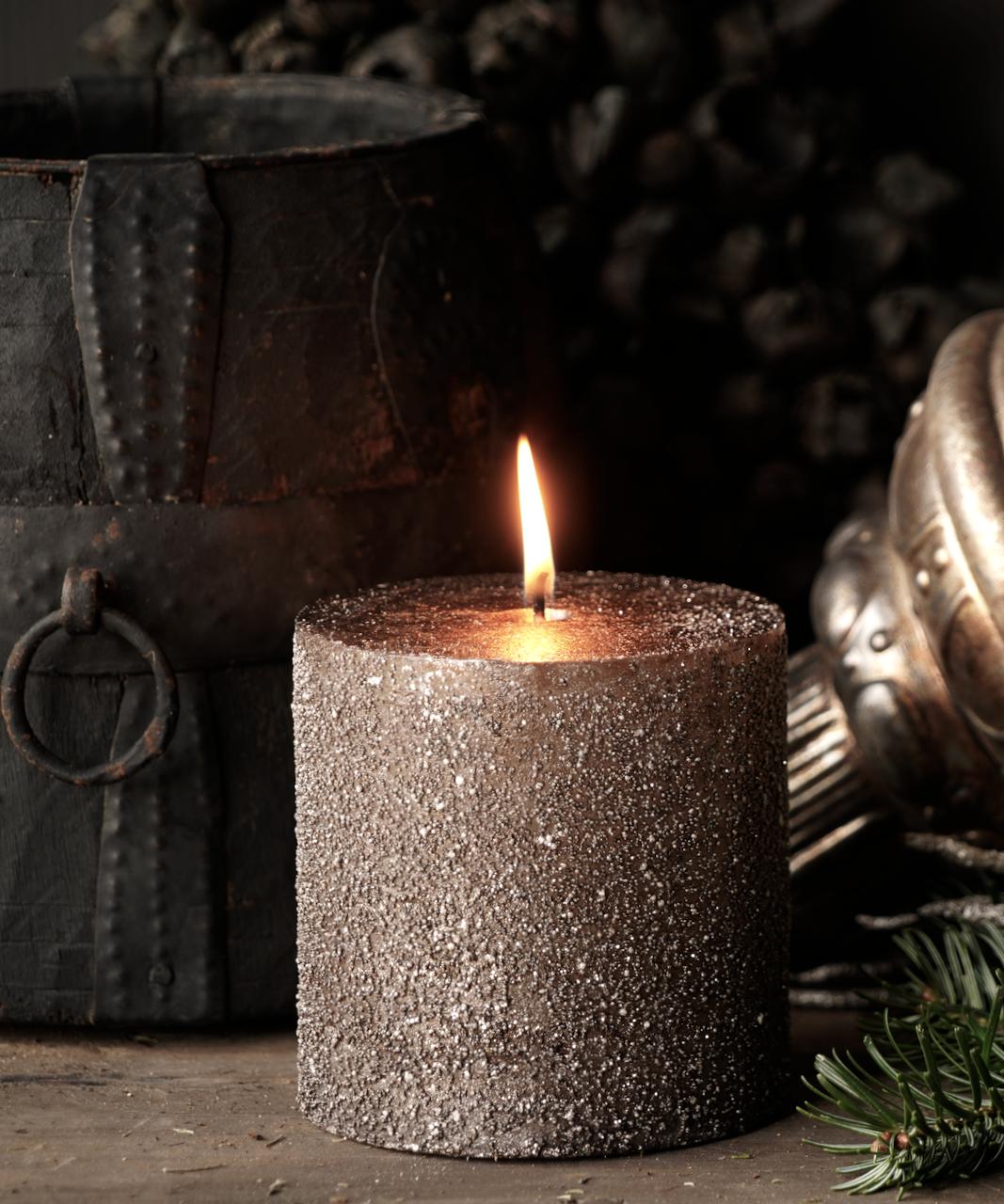 Glitter stumpfe Kerze Taupe-2