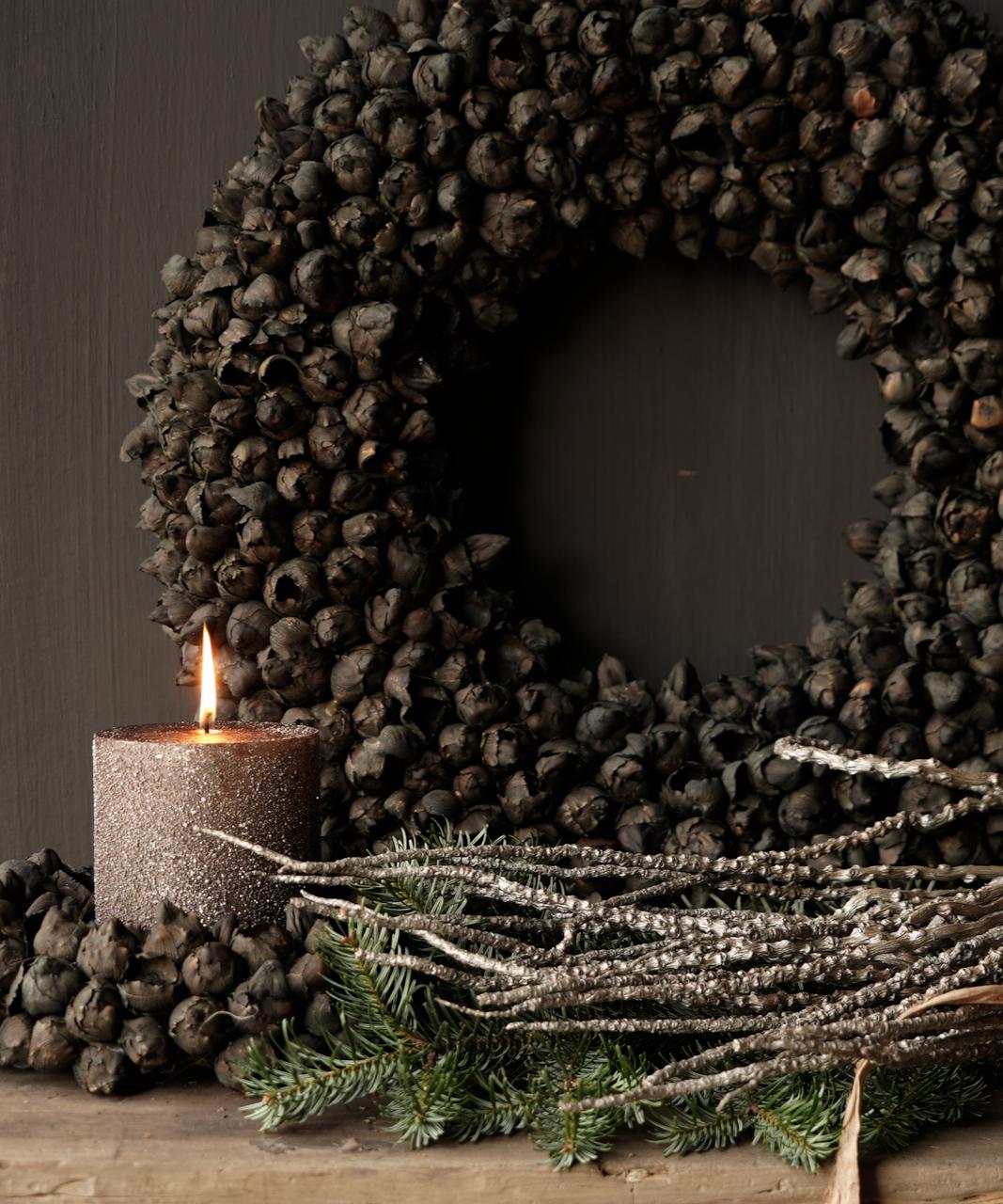 Glitter stumpfe Kerze Taupe-3