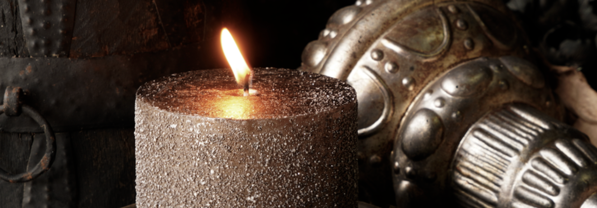 Glitter stumpfe Kerze Taupe