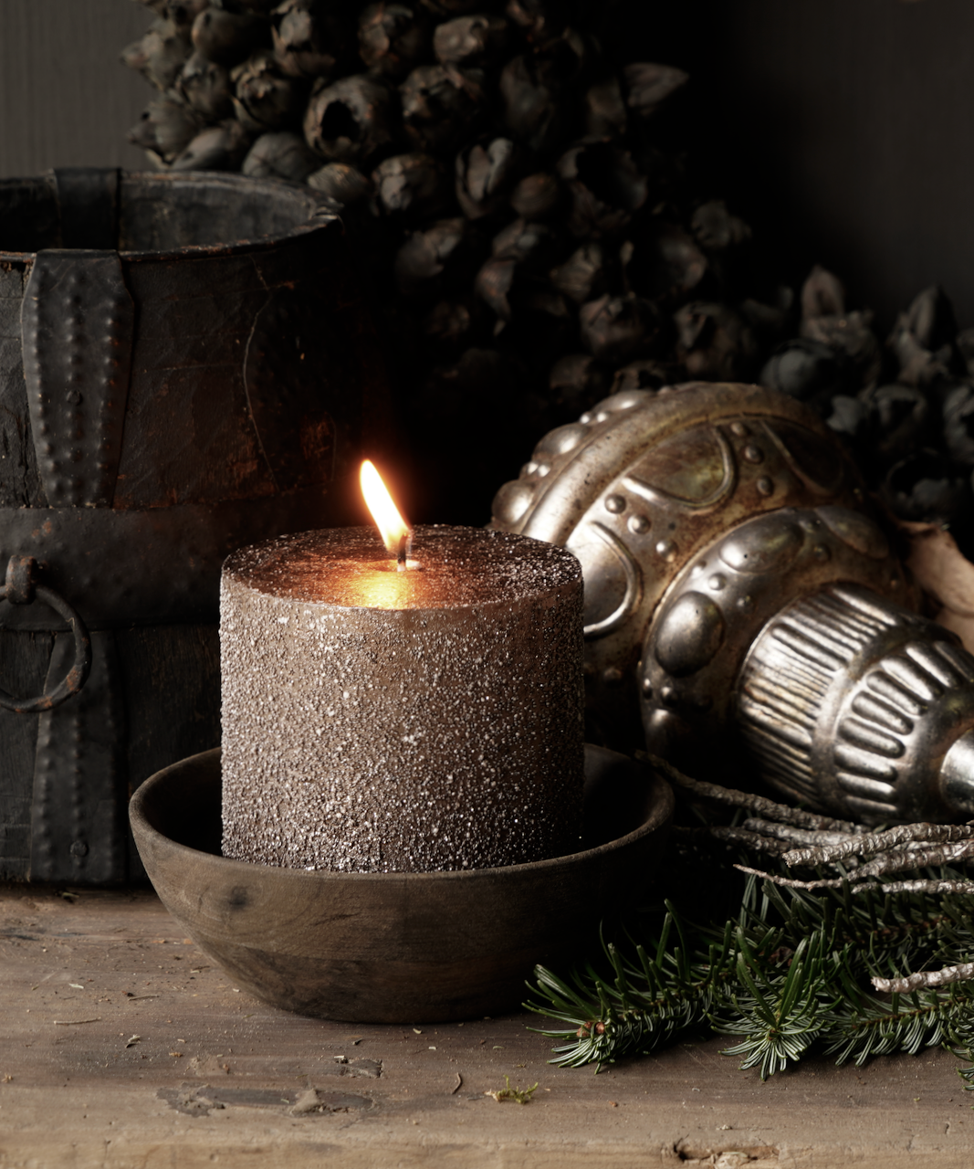 Glitter stumpfe Kerze Taupe-1