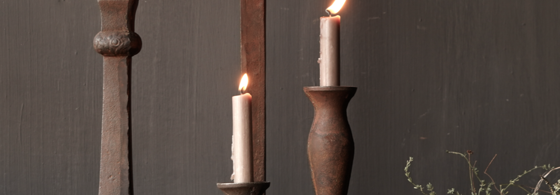 Cast iron candlestick