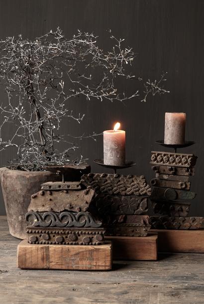 Wooden Batik stamp candlestick
