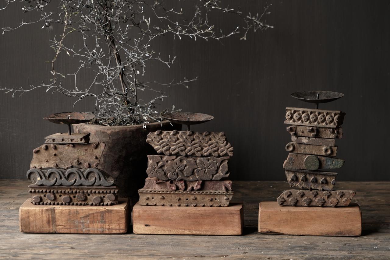 Houten Batik stempel kandelaar-6