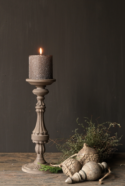 Wooden candlestick in the color taupe