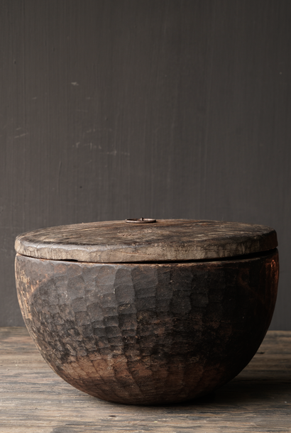 Old Authentic wooden bowl with lid