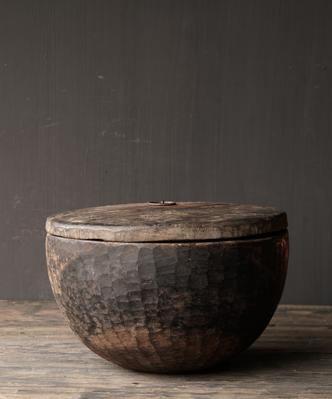 Old Authentic wooden bowl with lid-1