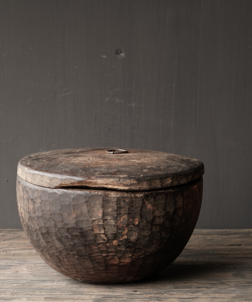 Old Authentic wooden bowl with lid-2