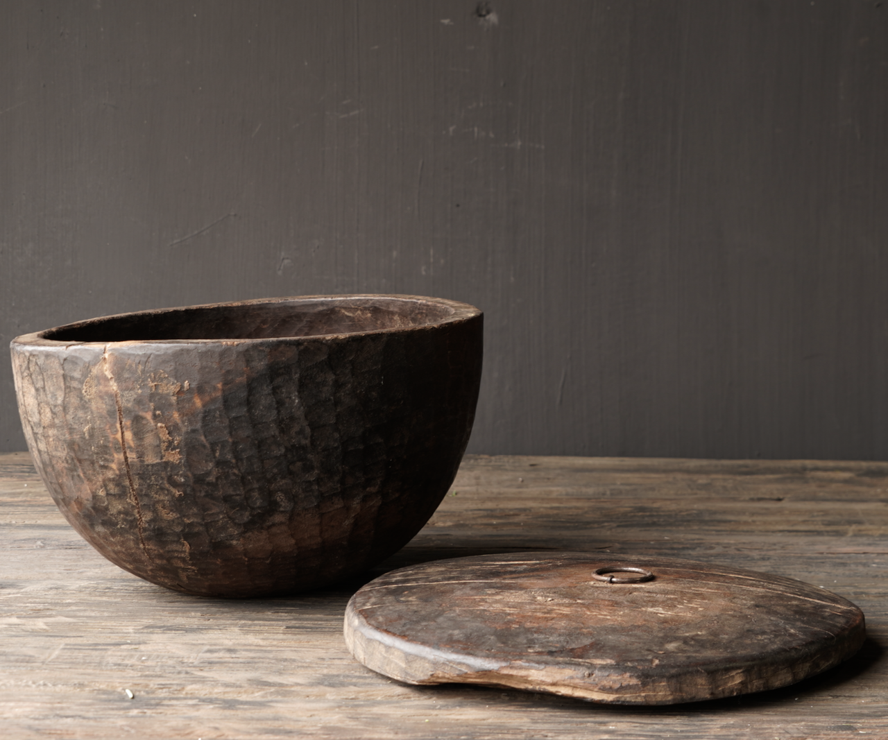 Old Authentic wooden bowl with lid-4