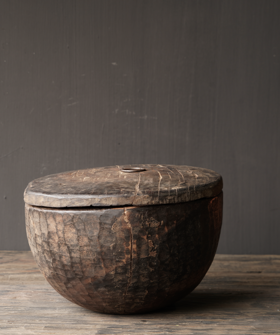Old Authentic wooden bowl with lid-6