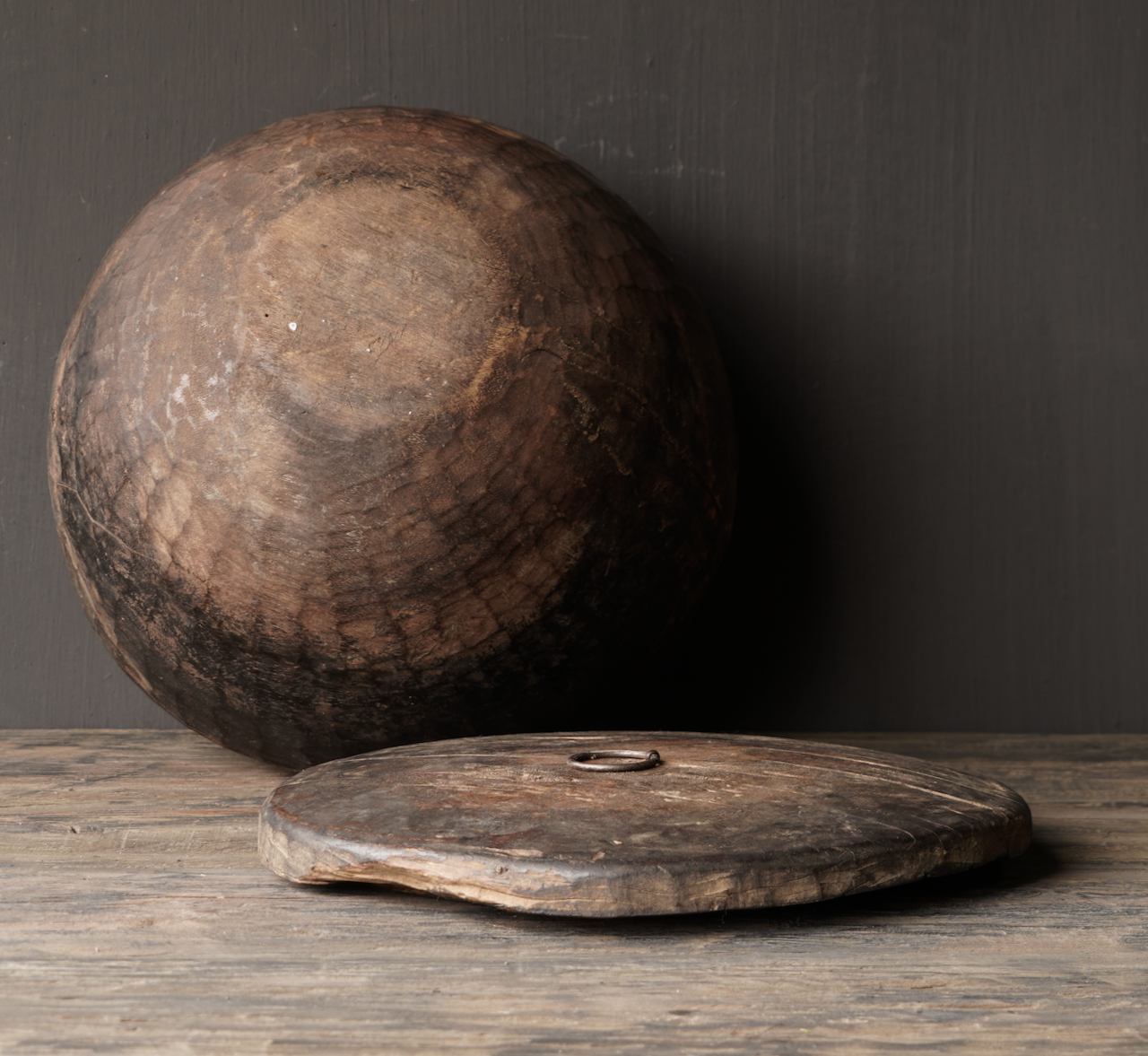 Old Authentic wooden bowl with lid-7